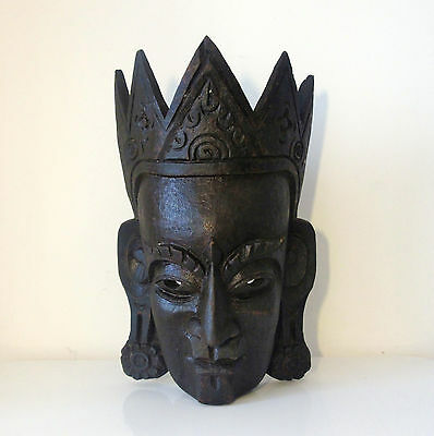 Large Carved Wooden Tibetan Mask of Buddha - Very Impressive - Great Character