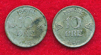 Norway 1917 10 ORE (2 Coins)  Silver