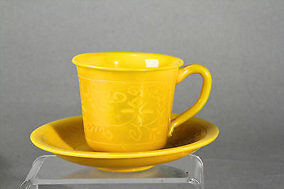 Vintage Cup And Saucer Peking China Glass Made In Shangdong