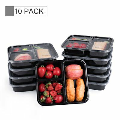 3 Compartment 10 Pack Reusable Food Storage Containers, Microwaveable With Lids