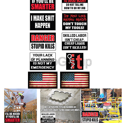 Funny Hard Hat & Helmet Stickers: 10 Decal Value Pack with Two American Flags...