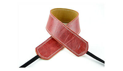 "Pete Schmidt Leather 2"" Camera Neck Strap (Vintage Red) Cream Stitch - NEW"