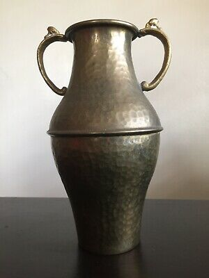 Fine Vintage Antique Arts & Crafts Hammered Copper Double Handle Vase Urn NICE