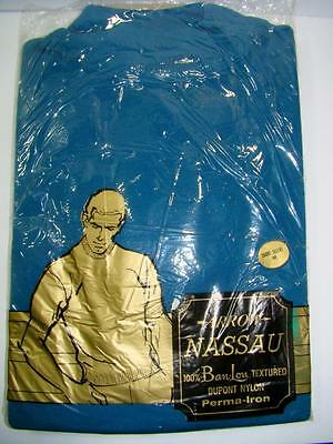Vtg 1970s Arrow M Blue Shirt Nassau Ban Lon Textured Dupot Nylon Short Slv NOS