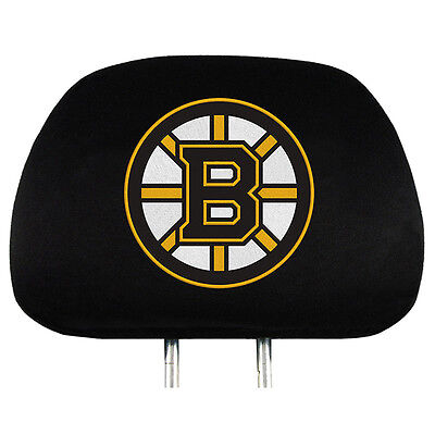 Pair of Boston Bruins Head Rest Covers NEW! NHL Truck Car Auto Headrests