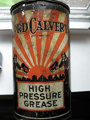 Vintage 1930s Lord Calvert Tin Oil Can Old Gas Station Sign