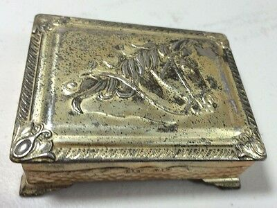 Vintage Horse Made in Occupied Japan Metal Trinket Box Jewelry Ring Box