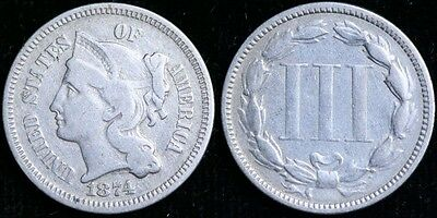 1874  Three Cent -  No Reserve - Free Shipping !!