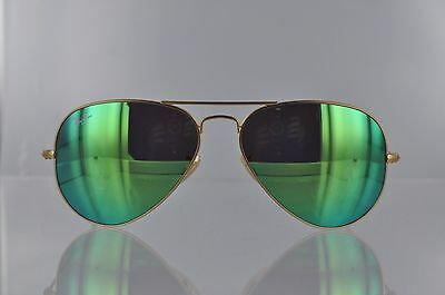 NWT | Ray Ban RB3025 112/19 Aviator Gold Frame Green Flash Lens Sunglasses Cool