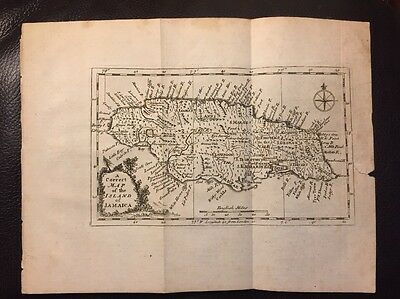 Rare 1762 Map Island Of Jamaica John Gibson Engraved