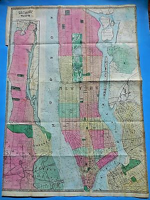 1864 Original Large Colored Map New York & Vicinity, M. Dripps:valentines Manual