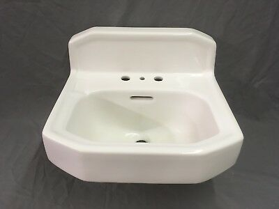 Vtg Mid Century Art Deco Clipped Corner White Porcelain Ceramic SInk Old 190-17E