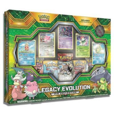 POKÉMON TCG Legacy Evolution Pin Collection Come w/ 5 Booster Packs
