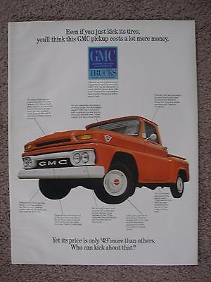 1965 Gmc Pickup Truck Large Full Page Color Ad Free Shipping