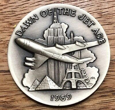 Dawn Of The Jet Age. 1+ Oz Longines Sterling Silver Medal Coin