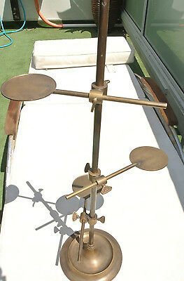 """large Display Stand solid brass old style adjustable 26"""" aged levels base unique"""