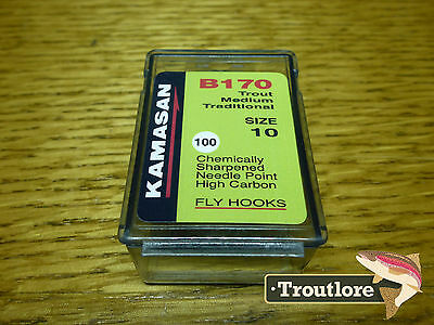 100 x KAMASAN B170 #10 NYMPH / WET FLY HOOKS - NEW FLY TYING MATERIALS