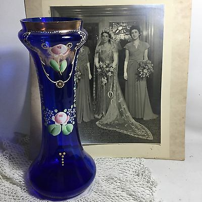 Antique Vintage Venetian Cobalt Blue Gilded Enamelled Art Glass Vase