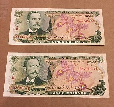 5 Colones Banco Central De Costa Rica 1989 Qty 2