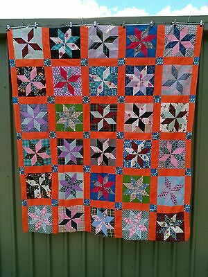 vintage American quilt top, hand stitched, top only
