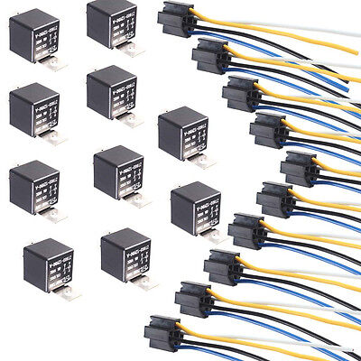 Lot10 Black Iron Back Car DC 12V 40A AMP SPST Relay 4Pin & 4 Wire Relay Plug
