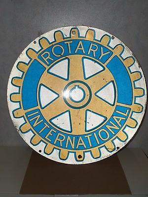 "Vintage 18"" Rotary International Metal Sign Double Sided"