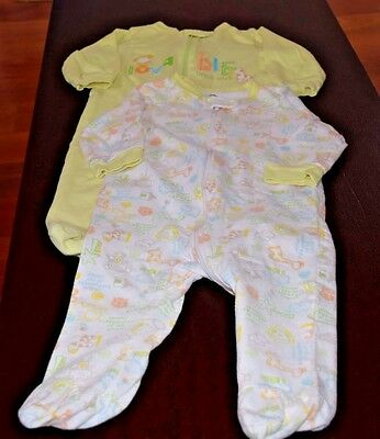 UC! 2 Baby's GERBER footsie Coverall one piece 3-6M Animal print Lime green