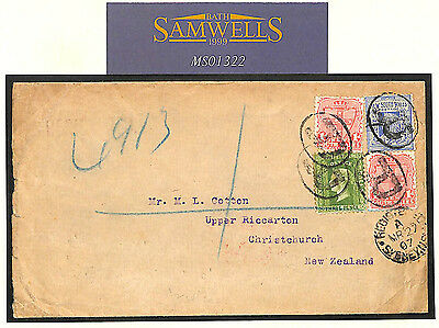MS1322 1907 Australia State NSW REGISTERED *Sydney*Cover New Zealand QV Franking
