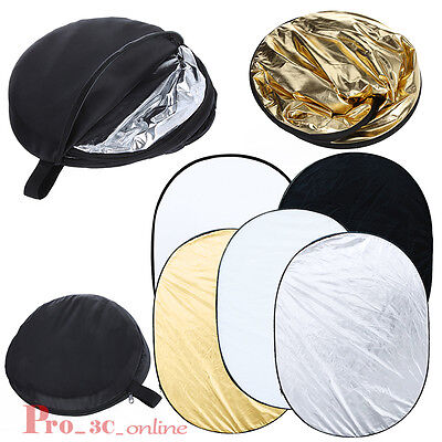 Pro 90cm x 120cm 5-in-1 Multi Reflector Collapsible Photo Studio Photography UK
