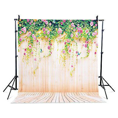 5x7ft Photography Backdrop Photo Stand Studio Background Yellow Wood Flower