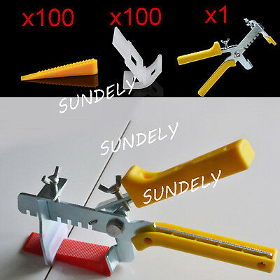 100 Wedges +100Clips + 1 Pliers Tiling Flooring Tools Tile Leveling System Kits