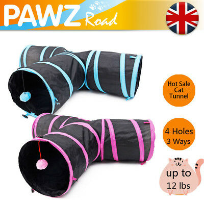 Pet Cat Tunnel 3 Way Kitten Y-Shape Training Toy Rabbit Play Tube With Hiarball