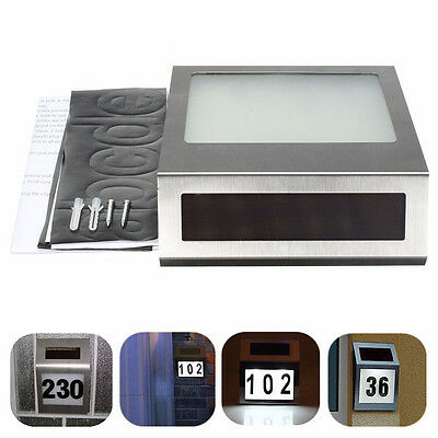 Solar Powered Stainless Steel House Door Number LED Outdoor Wall Plaque Light