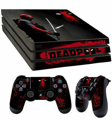 PS4 Pro Skin Deadpool 001 Wade Wilson Mercenary Sticker + 2 Pad decal Vinyl LAY