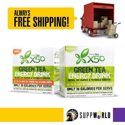 Green Tea X50 Weight Loss Energy Drink - 60 Serves - TWIN PACK - Free Shipping