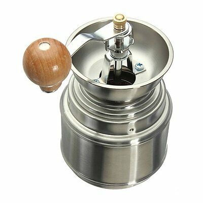Stainless Steel Manual Spice Bean Coffee Grinder Burr Grinder Mill D4H
