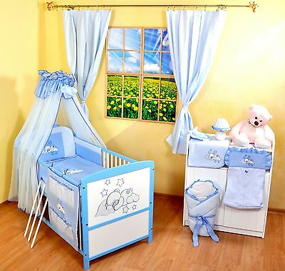 NEW WHITE-BLUE 2in1 COT-BED 120x60 WITH 3-PIECE BEDDING no 19 - RRP 149 GBP.
