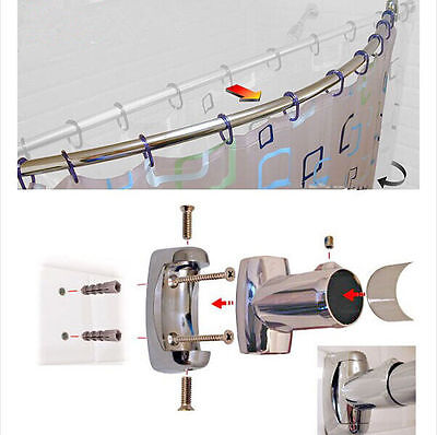 110cm - 200cm Extendable Curved Shower Curtain Rail Chrome Telescopic Bath Pole