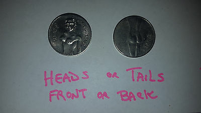 "1950's 60's VINTAGE ""HEADS OR TAILS"" NUDE COIN NOVELTY PRANK! GAG! VINTAGE COIN"