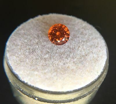 NATURAL Hessonite Garnet 1.19ct Bright Golden Orange Round Diamond Cut Gem