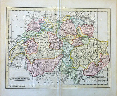 Antique Hand Colored Map of Switzerland by W. Darton. 1802.