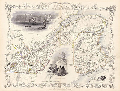 Well Illustrated Antique Map of East Canada and New Brunswick. Circa. 1850.