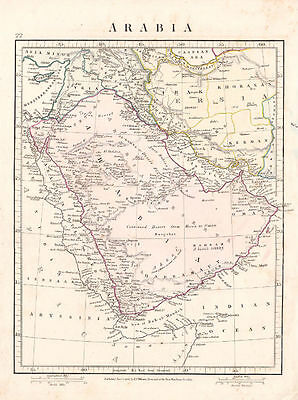 Antique Arabia Map. Hand colored. By A. Arrowsmith. 1841.