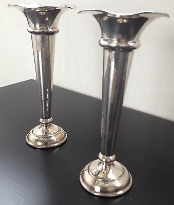 Pair Of Vintage Silverplate Victorian Tapered Candlestick Candle Holder 5 1/2""