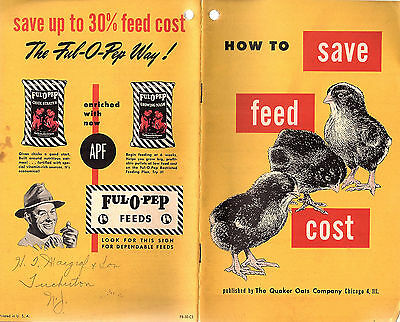 Quaker Oats Vintage 1940's-50's Booklet Saving Feed Costs Pullets FUL-O-PEP Feed