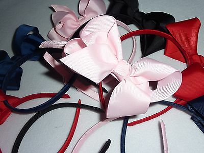 Job Lot Girls Alice Hair Band with Grosgrain Bows Pink, Navy, Black & Red