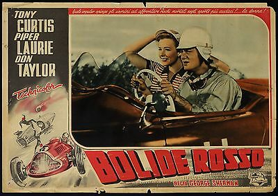 FOTOBUSTA, BOLIDE ROSSO Johnny Dark T.CURTIS, P.LAURIE, AUTO CAR POSTER AFFICHE