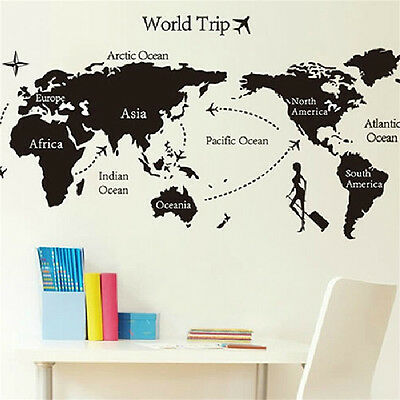 Large world trip travel map wall stickers art vinyl decal decor 120cm large world trip travel map wall stickers art vinyl decal home decor mural publicscrutiny Gallery