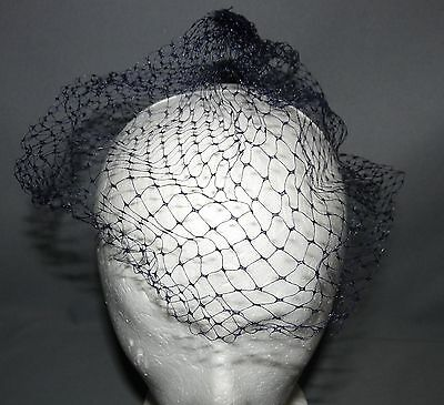 Ladies Vintage Whimsy Hat  All Black Netting Easter Bonnet