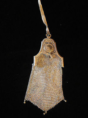 RARE 1920's Whiting Davis BUILT-IN COMPACT Piccadilly Mesh Purse
